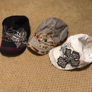 Bundle of 3 rhinestone hats caps. Butterfly cross